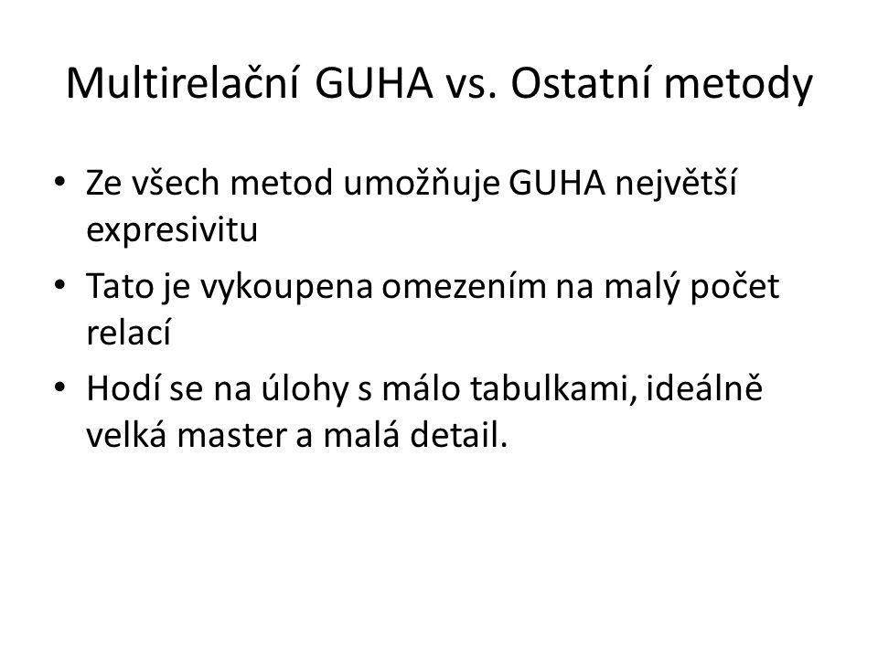 Multirelační GUHA vs. Ostatní metody • Ze všech metod umožňuje GUHA největší expresivitu • Tato je vykoupena omezením na malý počet relací • Hodí se n