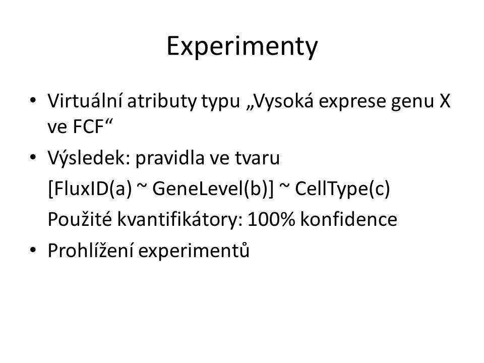 """Experimenty • Virtuální atributy typu """"Vysoká exprese genu X ve FCF"""" • Výsledek: pravidla ve tvaru [FluxID(a) ~ GeneLevel(b)] ~ CellType(c) Použité kv"""
