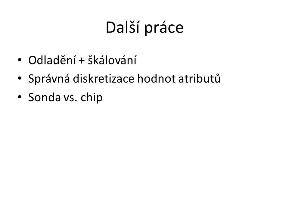 Další práce • Odladění + škálování • Správná diskretizace hodnot atributů • Sonda vs. chip