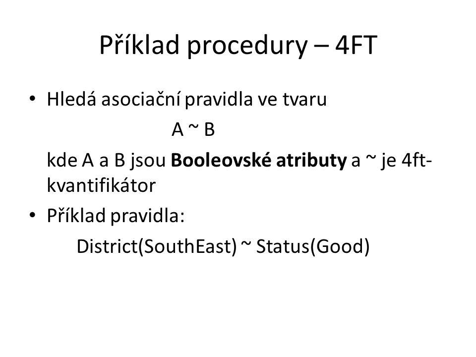 Příklad procedury – 4FT • Hledá asociační pravidla ve tvaru A ~ B kde A a B jsou Booleovské atributy a ~ je 4ft- kvantifikátor • Příklad pravidla: Dis