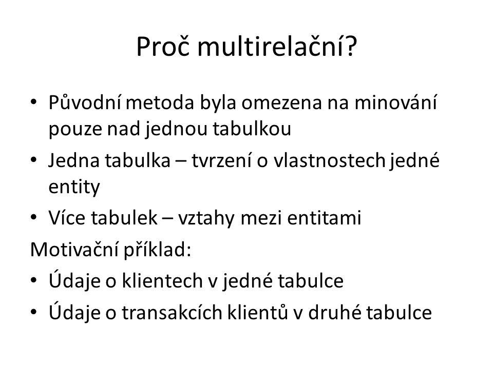 Proč multirelační? • Původní metoda byla omezena na minování pouze nad jednou tabulkou • Jedna tabulka – tvrzení o vlastnostech jedné entity • Více ta