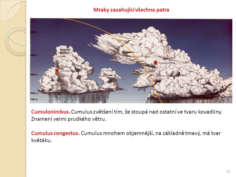 28 Mraky zasahující všechna patra Cumulonimbus.