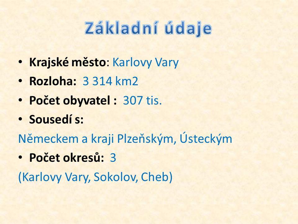 • Krajské město: Karlovy Vary • Rozloha: 3 314 km2 • Počet obyvatel : 307 tis. • Sousedí s: Německem a kraji Plzeňským, Ústeckým • Počet okresů: 3 (Ka