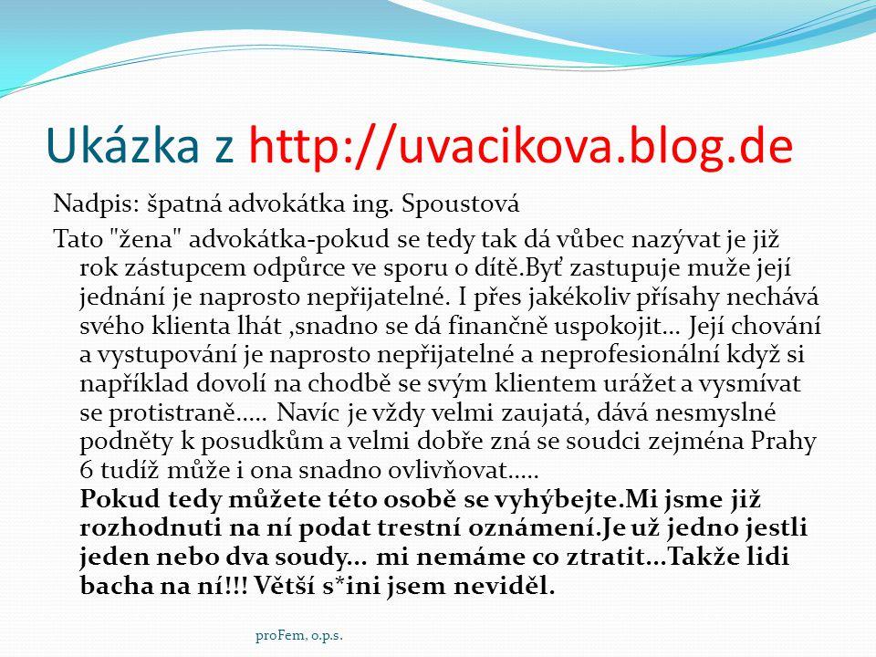 Ukázka z http://uvacikova.blog.de Nadpis: špatná advokátka ing. Spoustová Tato