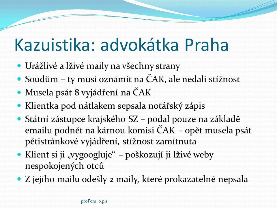 Kazuistika: advokátka Praha  Urážlivé a lživé maily na všechny strany  Soudům – ty musí oznámit na ČAK, ale nedali stížnost  Musela psát 8 vyjádřen