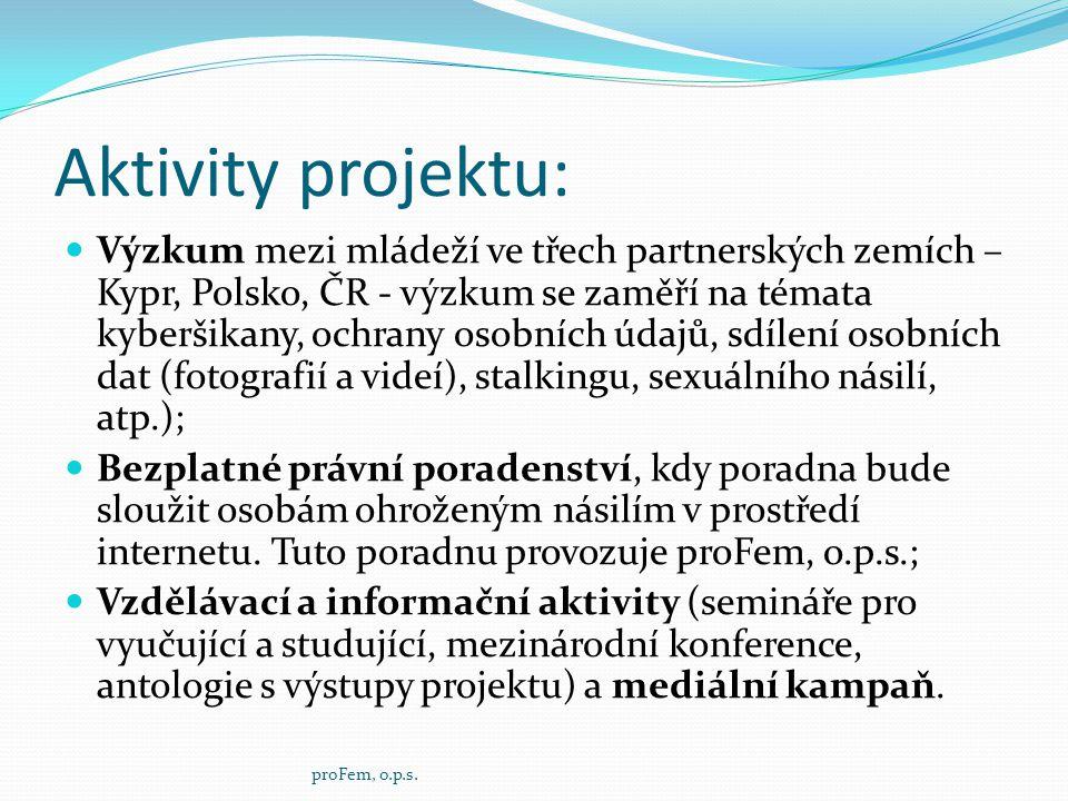 Aktivity projektu:  Výzkum mezi mládeží ve třech partnerských zemích – Kypr, Polsko, ČR - výzkum se zaměří na témata kyberšikany, ochrany osobních úd