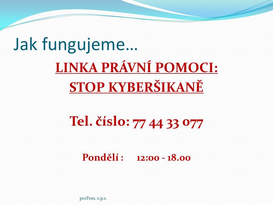 Jak fungujeme… LINKA PRÁVNÍ POMOCI: STOP KYBERŠIKANĚ Tel. číslo: 77 44 33 077 Pondělí : 12:00 - 18.00 proFem, o.p.s.