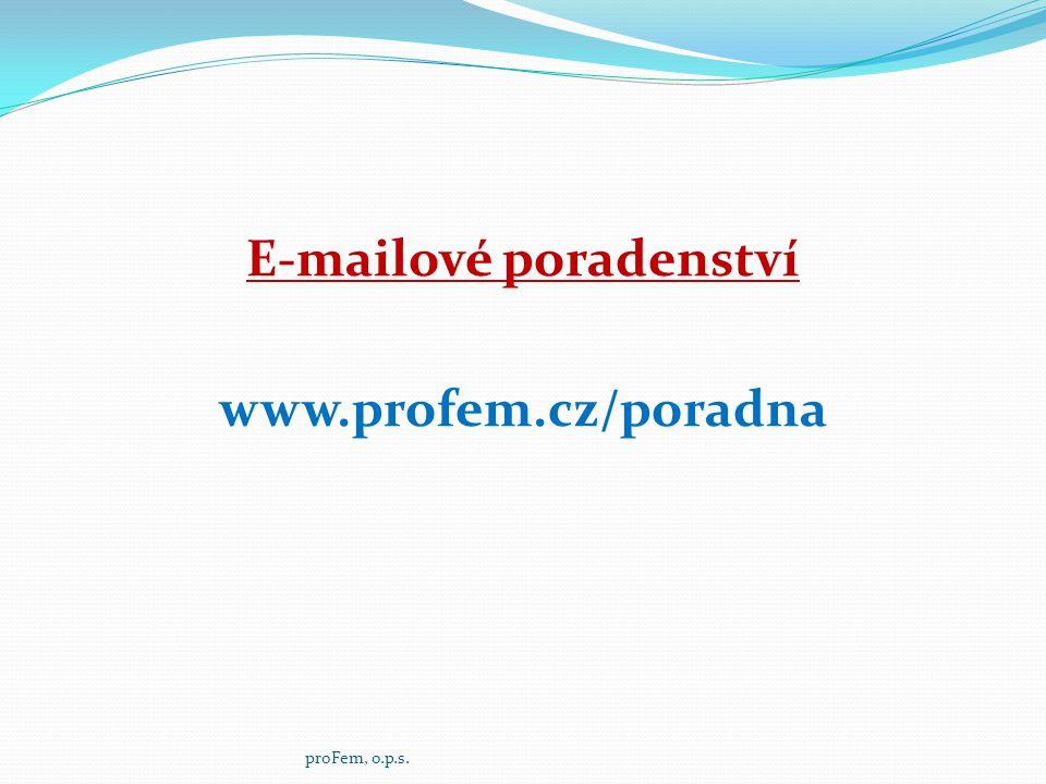 E-mailové poradenství www.profem.cz/poradna proFem, o.p.s.