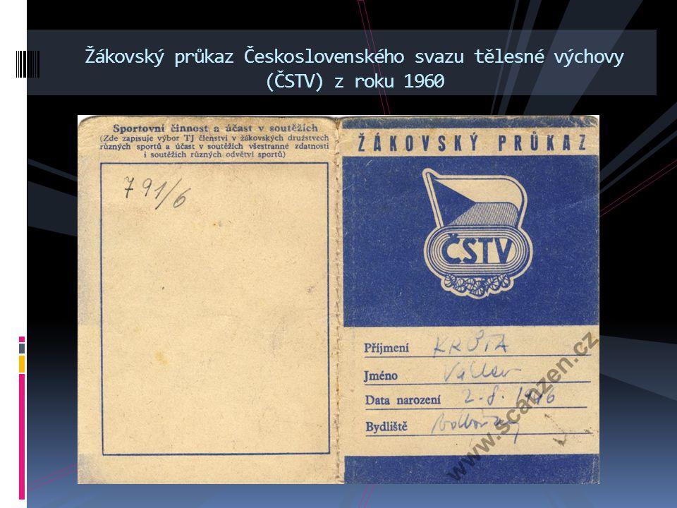 Žákovský průkaz Československého svazu tělesné výchovy (ČSTV) z roku 1960