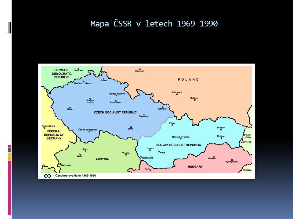 Mapa ČSSR v letech 1969-1990