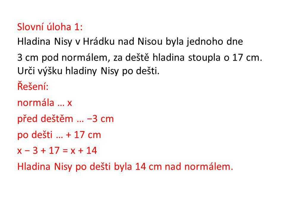 Slovní úloha 1: Hladina Nisy v Hrádku nad Nisou byla jednoho dne 3 cm pod normálem, za deště hladina stoupla o 17 cm.