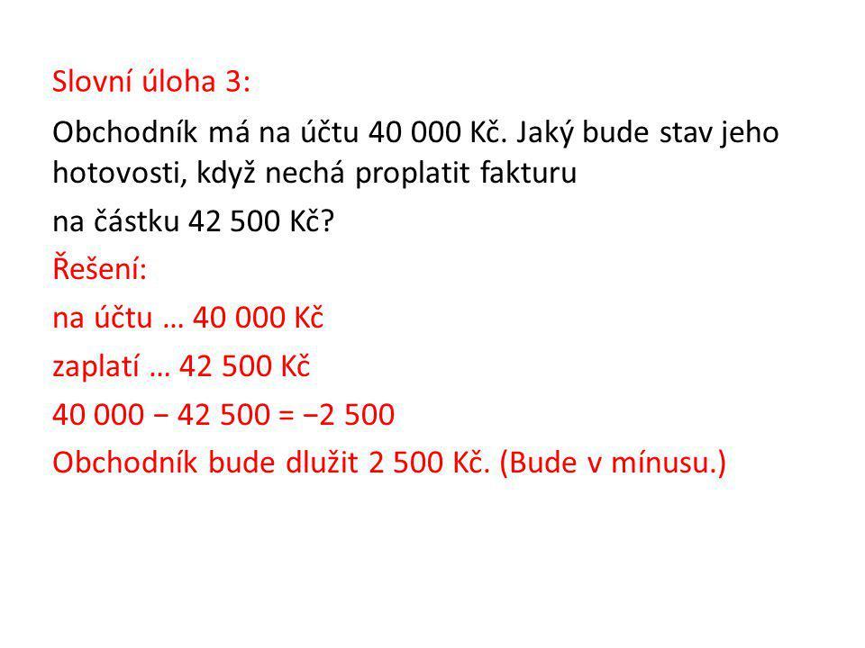 Slovní úloha 3: Obchodník má na účtu 40 000 Kč.