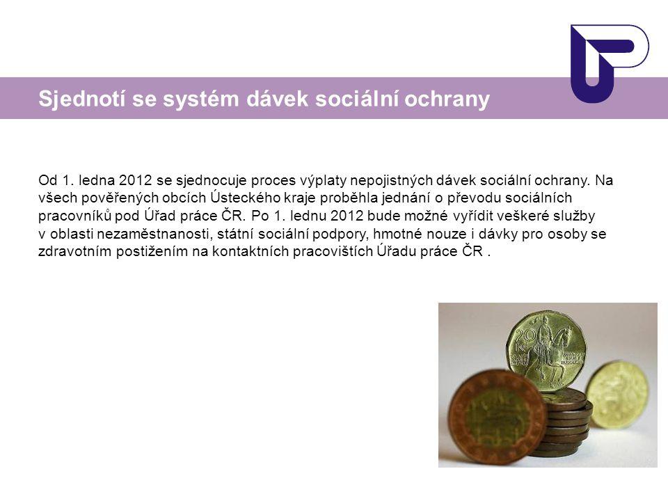 Od 1. ledna 2012 se sjednocuje proces výplaty nepojistných dávek sociální ochrany. Na všech pověřených obcích Ústeckého kraje proběhla jednání o převo