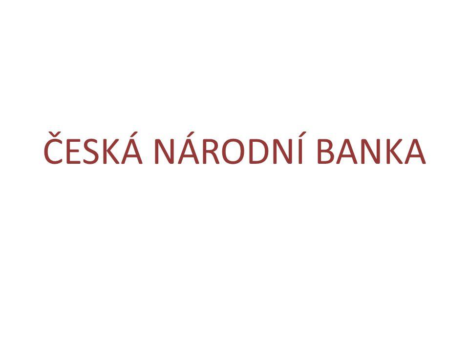 CHARAKTERISTIKA ČNB • právnická osoba • státní peněžní ústav (nezisková organizace) • ústřední orgán státní správy v oblasti měny • označení: banka centrální, ústřední, emisní, banka bank • vznik: 1.