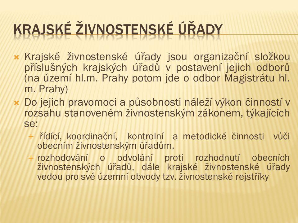  Krajské živnostenské úřady jsou organizační složkou příslušných krajských úřadů v postavení jejich odborů (na území hl.m. Prahy potom jde o odbor Ma