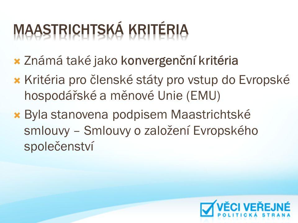  Známá také jako konvergenční kritéria  Kritéria pro členské státy pro vstup do Evropské hospodářské a měnové Unie (EMU)  Byla stanovena podpisem M