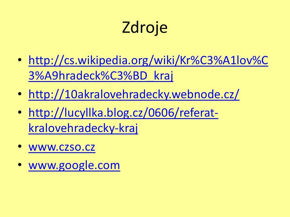 Zdroje • http://cs.wikipedia.org/wiki/Kr%C3%A1lov%C 3%A9hradeck%C3%BD_kraj http://cs.wikipedia.org/wiki/Kr%C3%A1lov%C 3%A9hradeck%C3%BD_kraj • http://