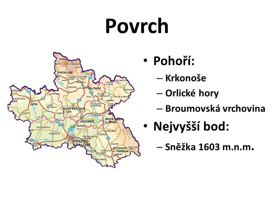 Povrch • Pohoří: – Krkonoše – Orlické hory – Broumovská vrchovina • Nejvyšší bod: – Sněžka 1603 m.n.m.