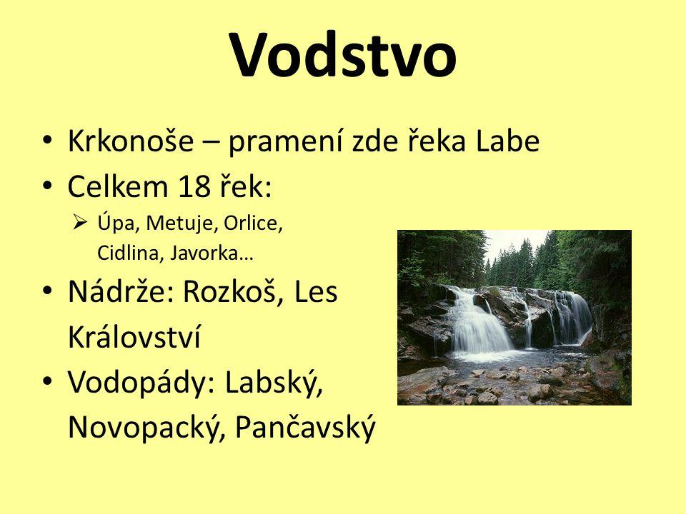 Vodstvo • Krkonoše – pramení zde řeka Labe • Celkem 18 řek:  Úpa, Metuje, Orlice, Cidlina, Javorka… • Nádrže: Rozkoš, Les Království • Vodopády: Labs