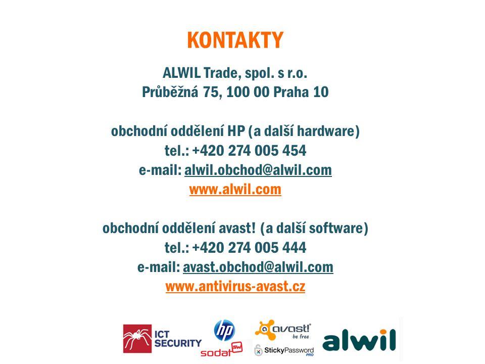 KONTAKTY ALWIL Trade, spol. s r.o. Průběžná 75, 100 00 Praha 10 obchodní oddělení HP (a další hardware) tel.: +420 274 005 454 e-mail: alwil.obchod@al