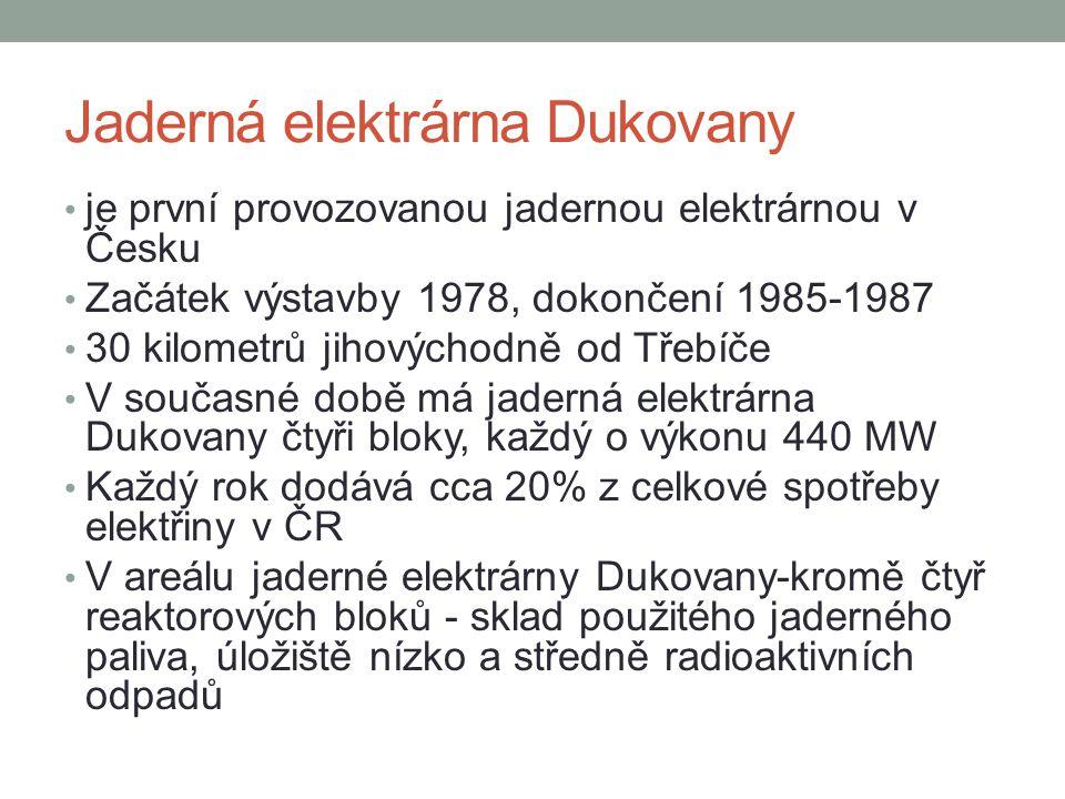 Jaderná elektrárna Dukovany • je první provozovanou jadernou elektrárnou v Česku • Začátek výstavby 1978, dokončení 1985-1987 • 30 kilometrů jihovýchodně od Třebíče • V současné době má jaderná elektrárna Dukovany čtyři bloky, každý o výkonu 440 MW • Každý rok dodává cca 20% z celkové spotřeby elektřiny v ČR • V areálu jaderné elektrárny Dukovany-kromě čtyř reaktorových bloků - sklad použitého jaderného paliva, úložiště nízko a středně radioaktivních odpadů