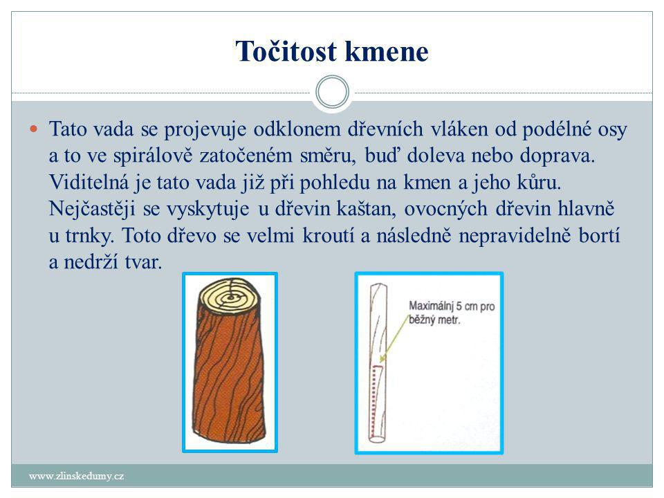 Točitost kmene www.zlinskedumy.cz  Tato vada se projevuje odklonem dřevních vláken od podélné osy a to ve spirálově zatočeném směru, buď doleva nebo doprava.