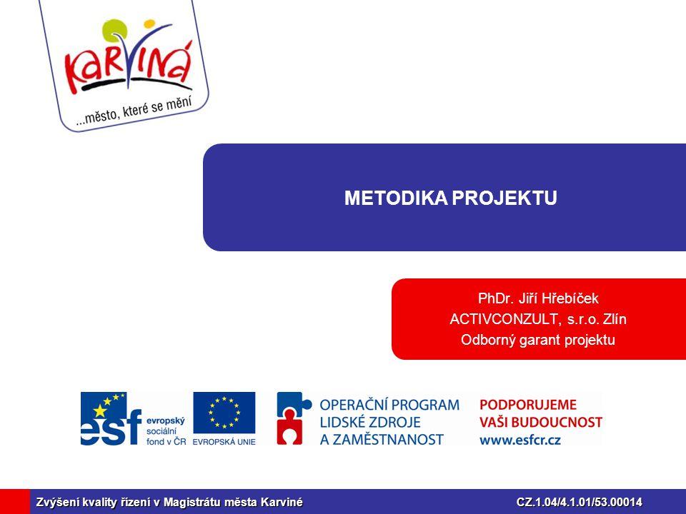 Zvýšení kvality řízení v Magistrátu města KarvinéCZ.1.04/4.1.01/53.00014 METODIKA PROJEKTU PhDr.