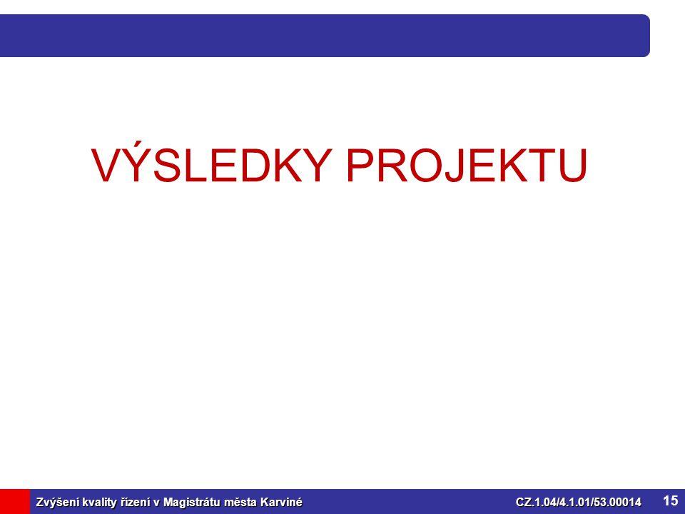 Zvýšení kvality řízení v Magistrátu města KarvinéCZ.1.04/4.1.01/53.00014 VÝSLEDKY PROJEKTU 15