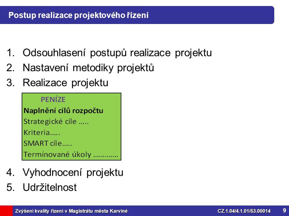 Zvýšení kvality řízení v Magistrátu města KarvinéCZ.1.04/4.1.01/53.00014 Postup realizace projektového řízení 1.Odsouhlasení postupů realizace projektu 2.Nastavení metodiky projektů 3.Realizace projektu 4.Vyhodnocení projektu 5.Udržitelnost 9