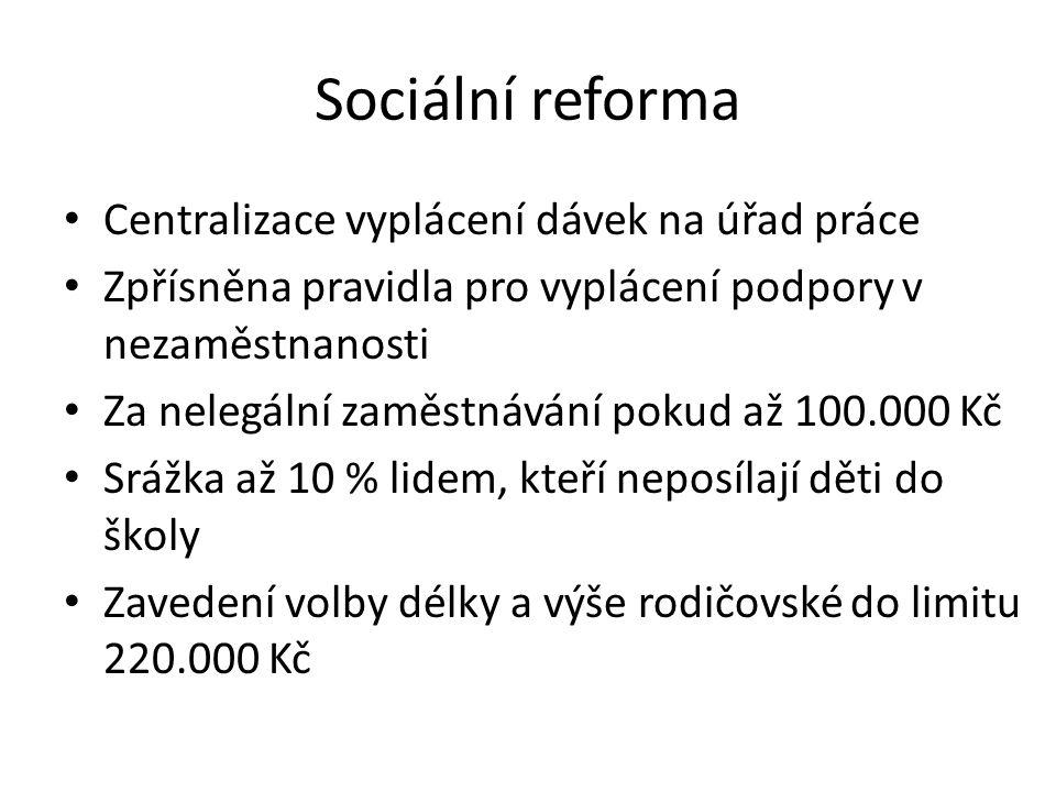 Sociální reforma • Centralizace vyplácení dávek na úřad práce • Zpřísněna pravidla pro vyplácení podpory v nezaměstnanosti • Za nelegální zaměstnávání