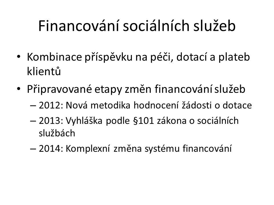 Financování sociálních služeb • Kombinace příspěvku na péči, dotací a plateb klientů • Připravované etapy změn financování služeb – 2012: Nová metodik