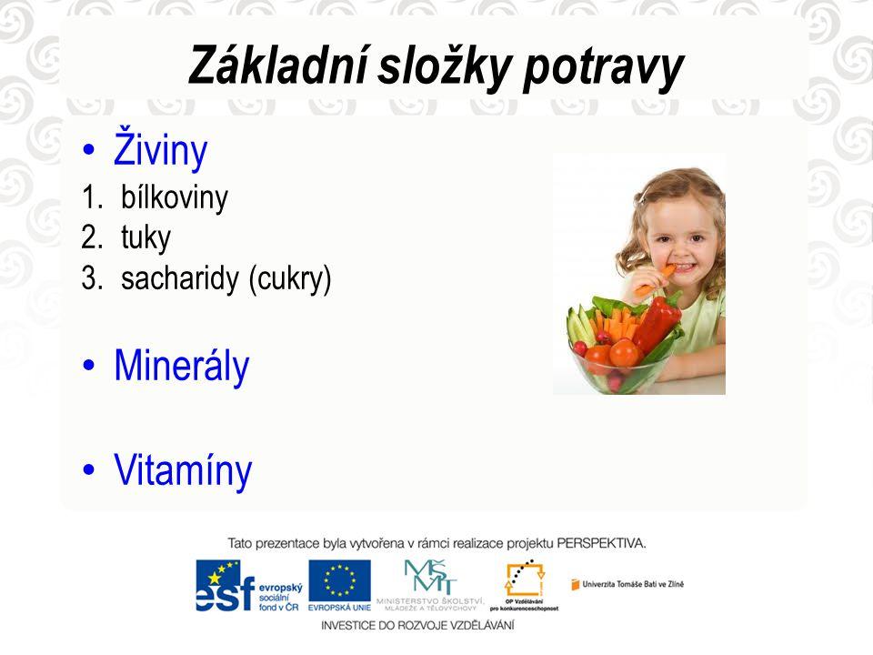 Základní složky potravy • Živiny 1. bílkoviny 2. tuky 3. sacharidy (cukry) • Minerály • Vitamíny