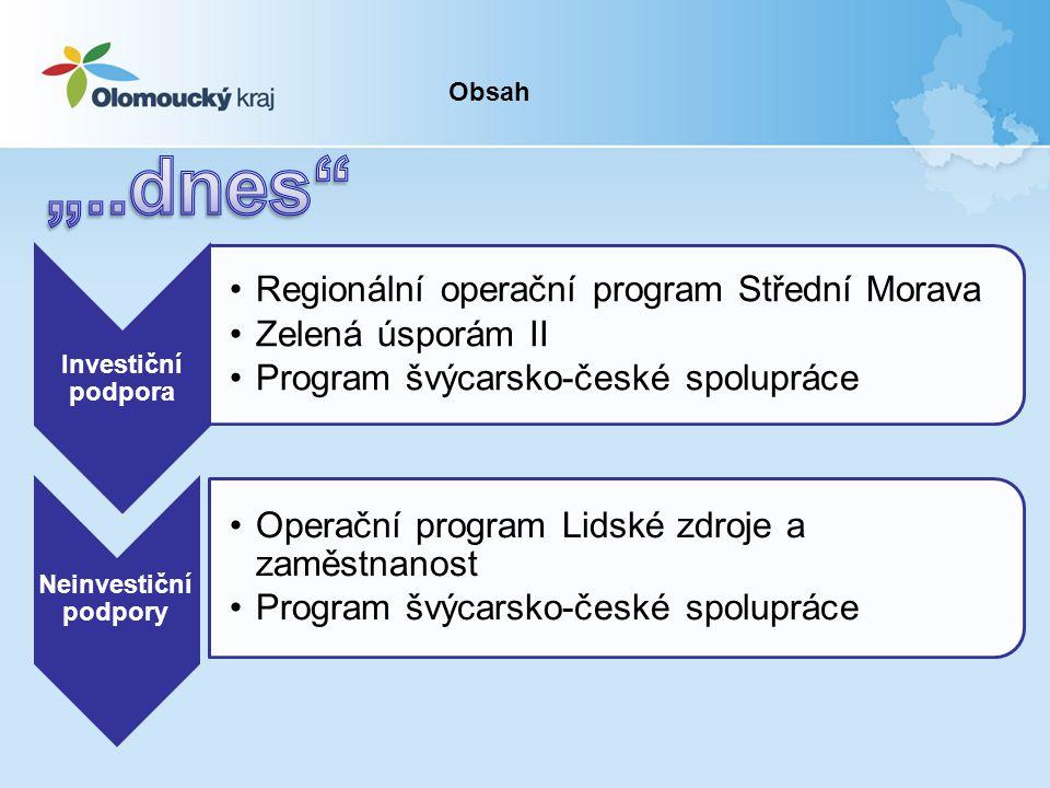 Investiční podpora •Regionální operační program Střední Morava •Zelená úsporám II •Program švýcarsko-české spolupráce Neinvestiční podpory •Operační program Lidské zdroje a zaměstnanost •Program švýcarsko-české spolupráce Obsah