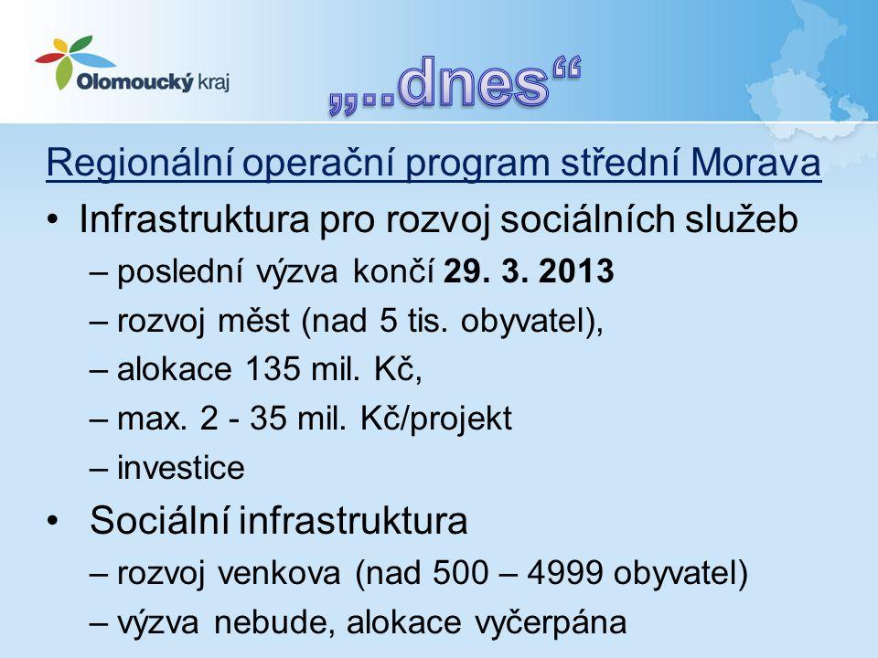 Regionální operační program střední Morava •Infrastruktura pro rozvoj sociálních služeb –poslední výzva končí 29. 3. 2013 –rozvoj měst (nad 5 tis. oby