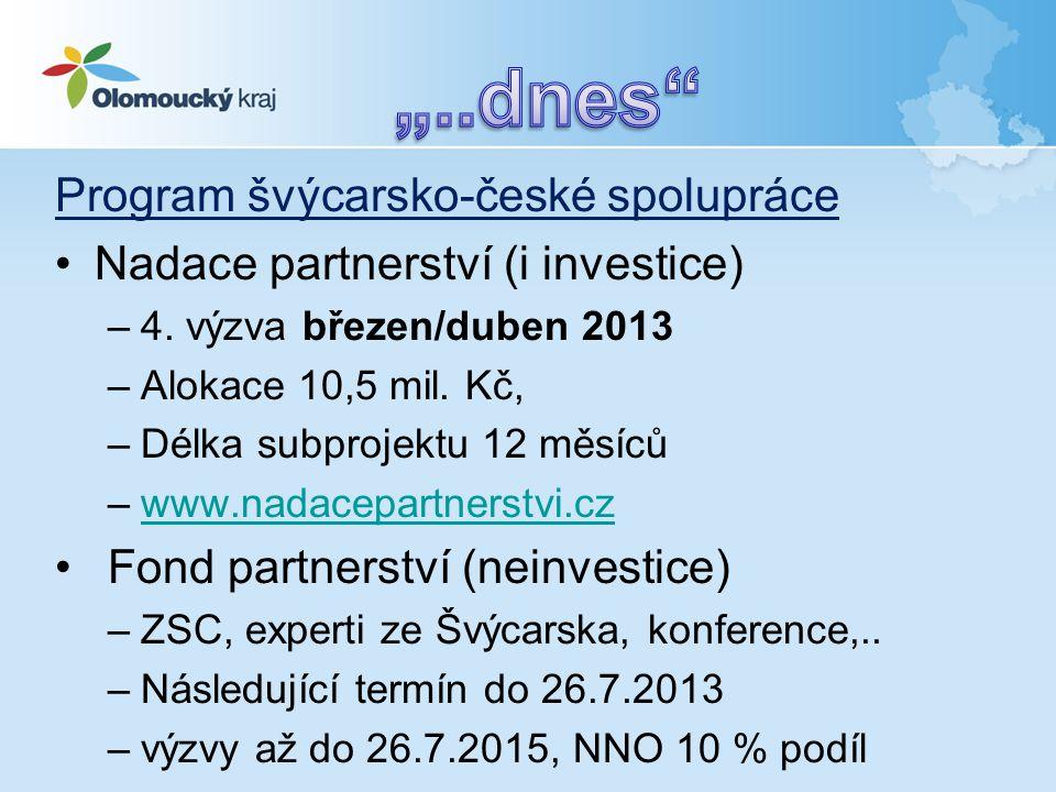 Program švýcarsko-české spolupráce •Nadace partnerství (i investice) –4. výzva březen/duben 2013 –Alokace 10,5 mil. Kč, –Délka subprojektu 12 měsíců –
