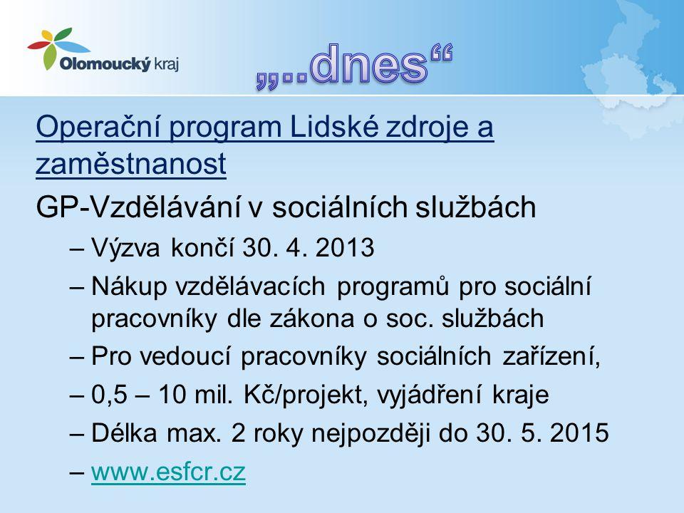 Operační program Lidské zdroje a zaměstnanost GP-Vzdělávání v sociálních službách –Výzva končí 30. 4. 2013 –Nákup vzdělávacích programů pro sociální p