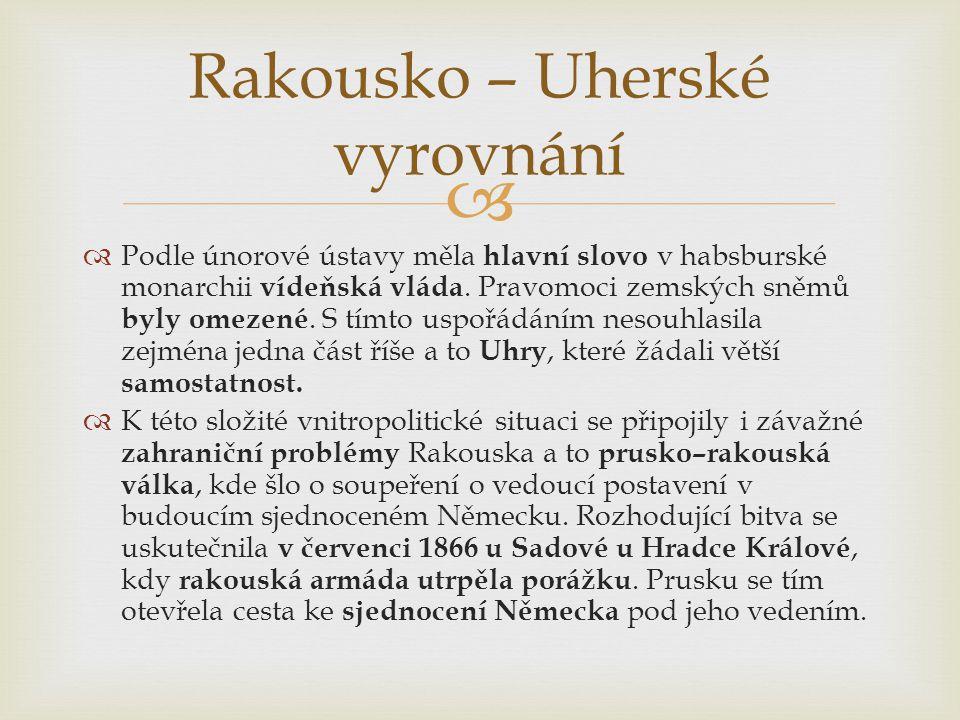   Podle únorové ústavy měla hlavní slovo v habsburské monarchii vídeňská vláda. Pravomoci zemských sněmů byly omezené. S tímto uspořádáním nesouhlas