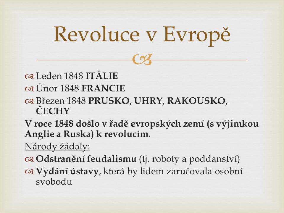   Leden 1848 ITÁLIE  Únor 1848 FRANCIE  Březen 1848 PRUSKO, UHRY, RAKOUSKO, ČECHY V roce 1848 došlo v řadě evropských zemí (s výjimkou Anglie a Ru
