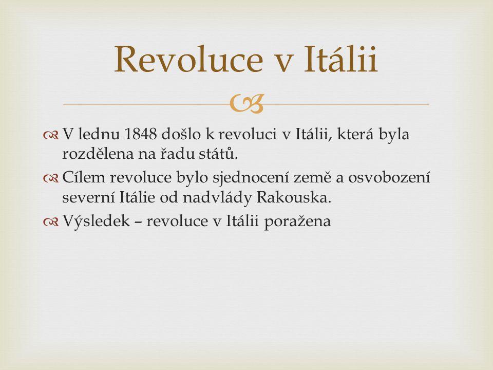   V lednu 1848 došlo k revoluci v Itálii, která byla rozdělena na řadu států.  Cílem revoluce bylo sjednocení země a osvobození severní Itálie od n