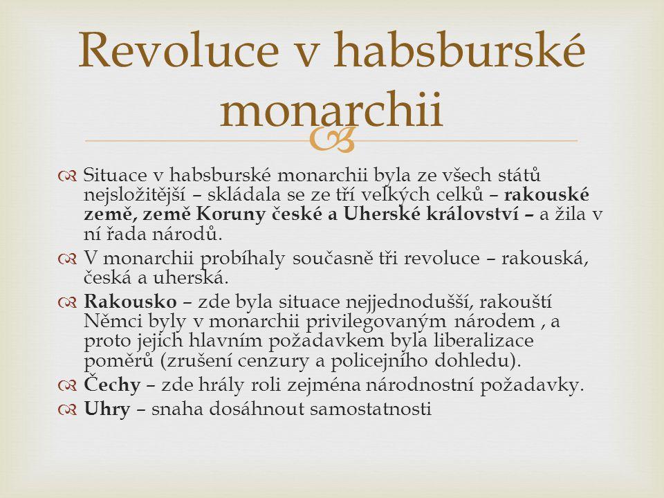   Situace v habsburské monarchii byla ze všech států nejsložitější – skládala se ze tří velkých celků – rakouské země, země Koruny české a Uherské k