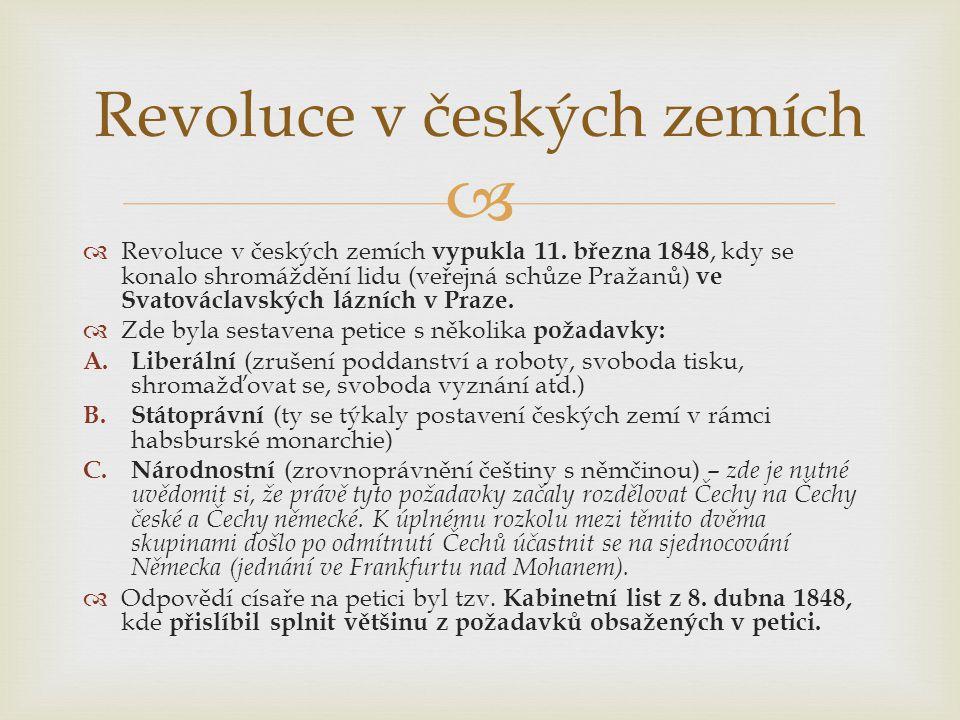   Revoluce v českých zemích vypukla 11. března 1848, kdy se konalo shromáždění lidu (veřejná schůze Pražanů) ve Svatováclavských lázních v Praze. 