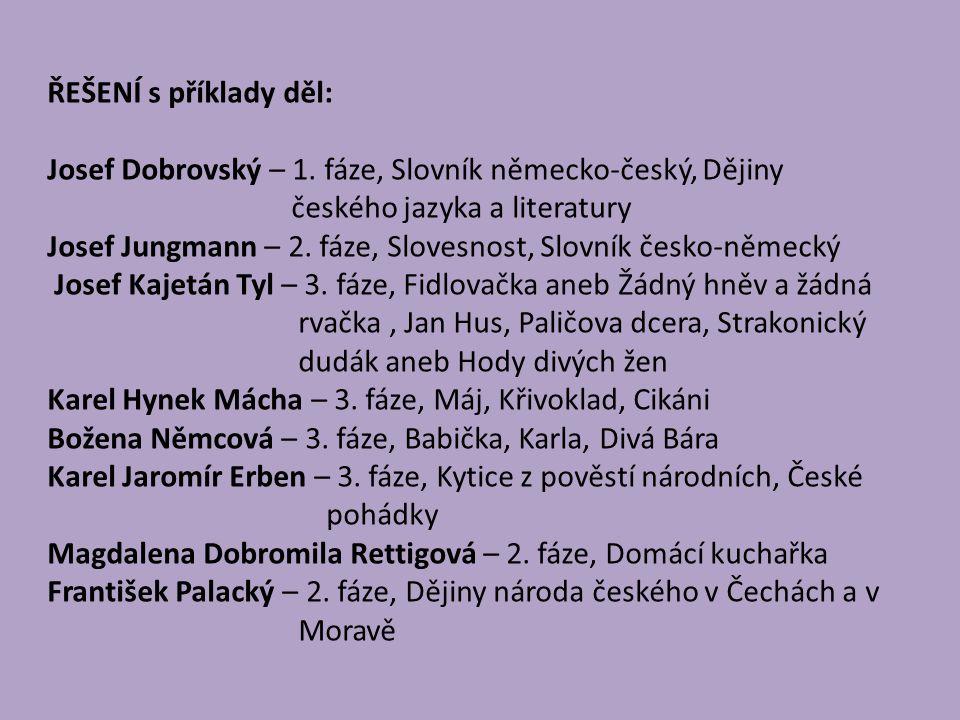 ŘEŠENÍ s příklady děl: Josef Dobrovský – 1.