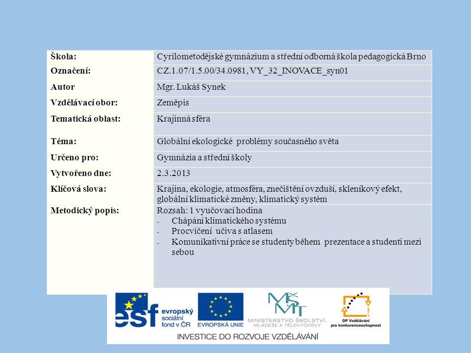 Škola:Cyrilometodějské gymnázium a střední odborná škola pedagogická Brno Označení:CZ.1.07/1.5.00/34.0981, VY_32_INOVACE_syn01 AutorMgr.