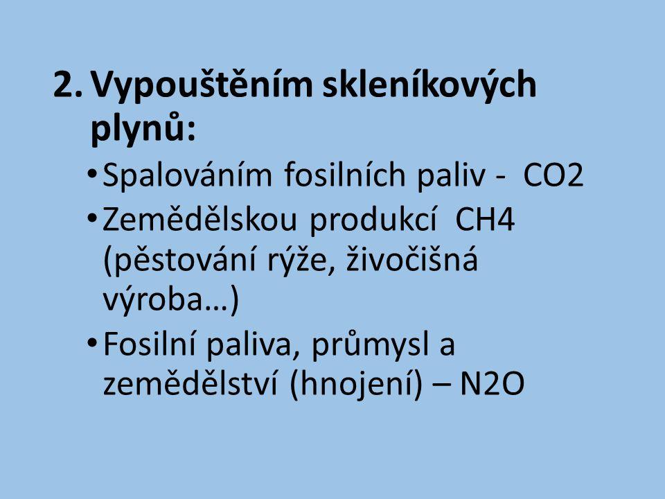 2.Vypouštěním skleníkových plynů: • Spalováním fosilních paliv - CO2 • Zemědělskou produkcí CH4 (pěstování rýže, živočišná výroba…) • Fosilní paliva, průmysl a zemědělství (hnojení) – N2O