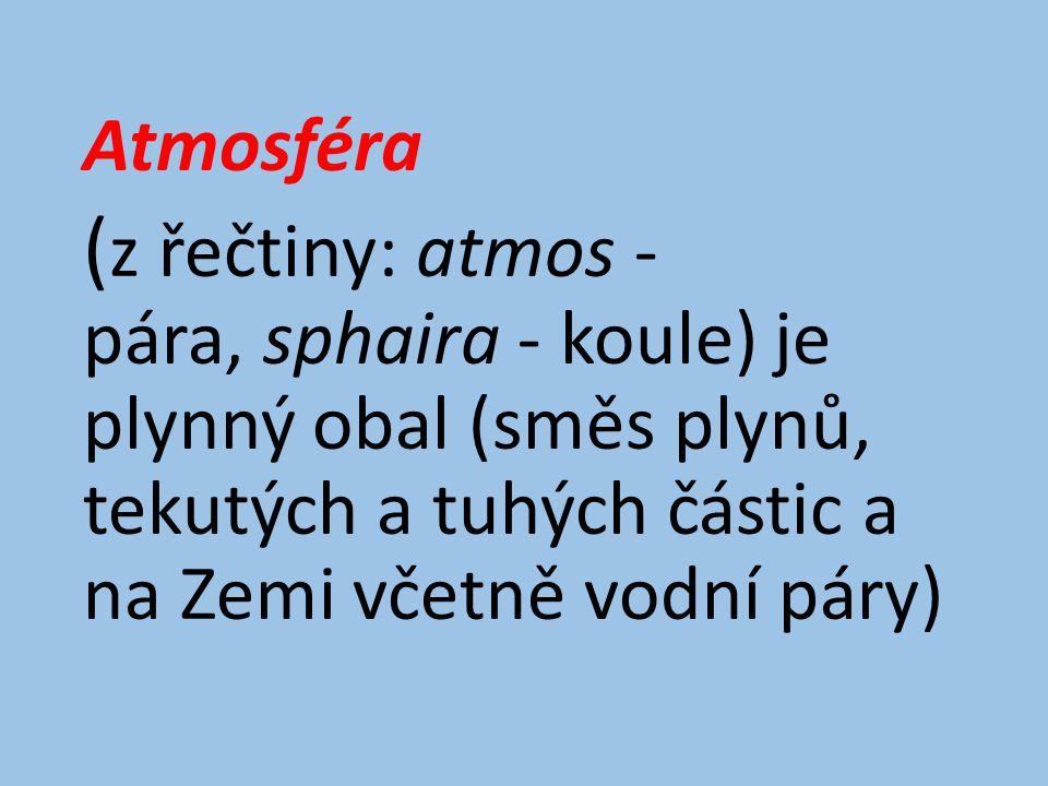 Atmosféra ( z řečtiny: atmos - pára, sphaira - koule) je plynný obal (směs plynů, tekutých a tuhých částic a na Zemi včetně vodní páry)