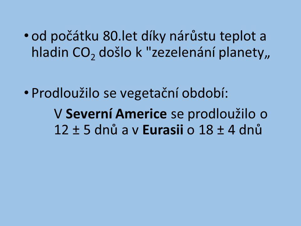 """• od počátku 80.let díky nárůstu teplot a hladin CO 2 došlo k zezelenání planety"""" • Prodloužilo se vegetační období: V Severní Americe se prodloužilo o 12 ± 5 dnů a v Eurasii o 18 ± 4 dnů"""