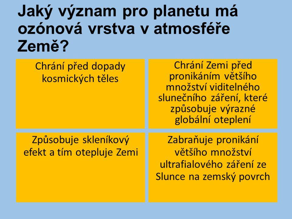 Jaký význam pro planetu má ozónová vrstva v atmosféře Země.
