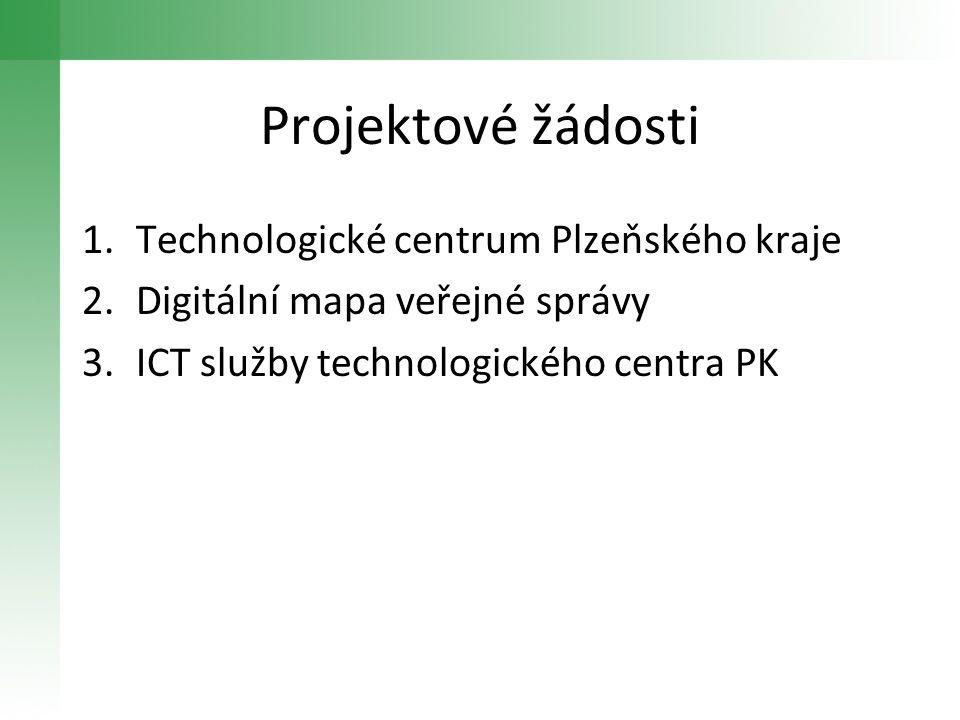 Projektové žádosti 1.Technologické centrum Plzeňského kraje 2.Digitální mapa veřejné správy 3.ICT služby technologického centra PK