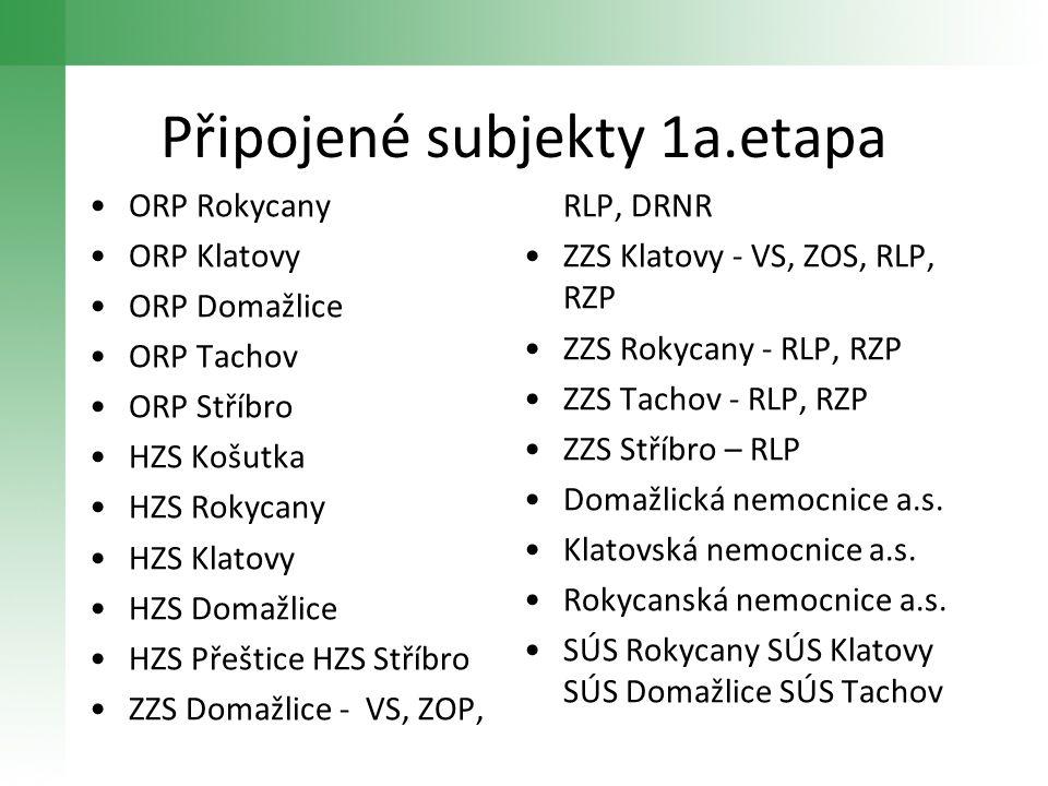 Připojené subjekty 1a.etapa •ORP Rokycany •ORP Klatovy •ORP Domažlice •ORP Tachov •ORP Stříbro •HZS Košutka •HZS Rokycany •HZS Klatovy •HZS Domažlice