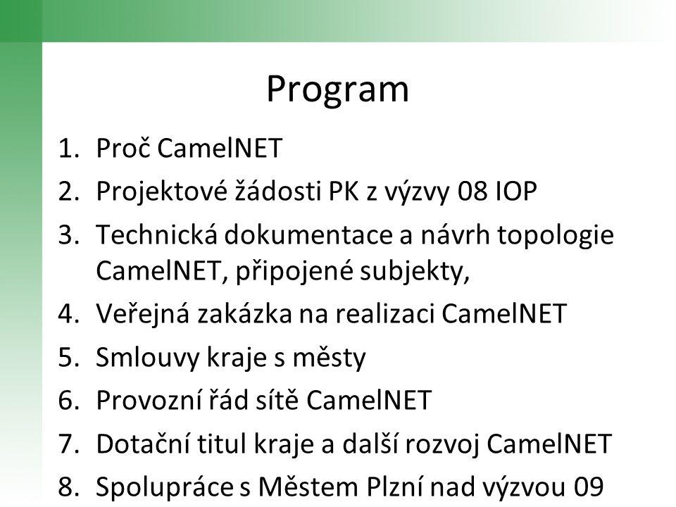Program 1.Proč CamelNET 2.Projektové žádosti PK z výzvy 08 IOP 3.Technická dokumentace a návrh topologie CamelNET, připojené subjekty, 4.Veřejná zakáz